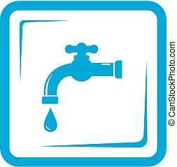 faucet in frame - tap water symbol - blue faucet in frame -...