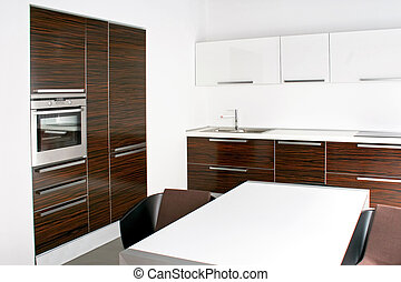 Bright kitchen - Big bright kitchen interior with wooden...
