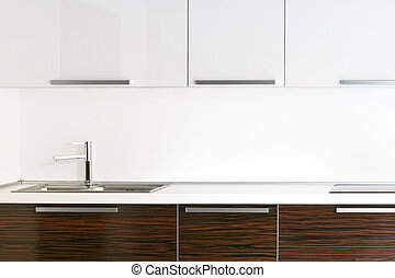 Bright kitchen counter top with wooden details