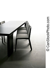 Dinning table - Black table with chairs in dinning room