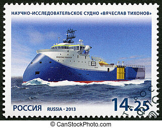RUSSIA - CIRCA 2013: A stamp printed in Russia shows scientific and research vessel Vyacheslav Tikhonov, series Marine fleet of Russia, circa 2013