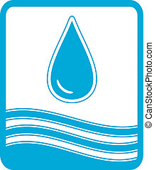 symbol with water drop and wave - blue reservoir water...