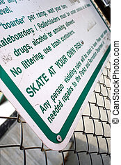 Skate Park Rules - A sign at the skate park clearly states...