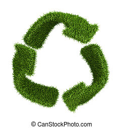 Recycle symbol from grass. isolated on white