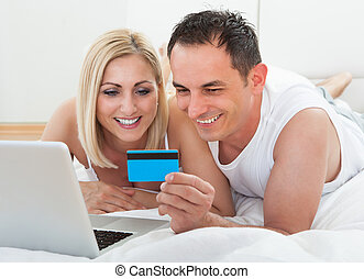 Shopping Online Holding Credit Card