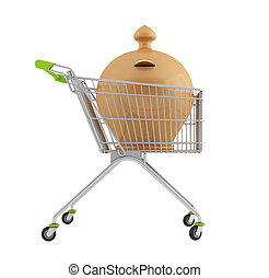Clay money-box in a shopping cart