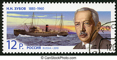 RUSSIA - CIRCA 2010: A stamp printed in Russia dedicated the 125th anniversary of birth of N.N. Zubov (1885-1960), circa 2010