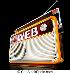 portable web radio - 3D rendering of a radio with a web icon