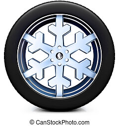snow tire - 3D illustration of a snow tire