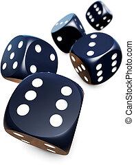 dices - 3D rendering of fallen dices