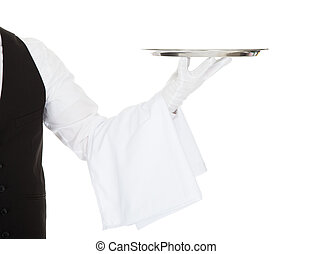 Waiter Holding Empty Silver Tray Over White Background