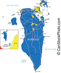 Bahrain map - Highly detailed vector map of Bahrain with...