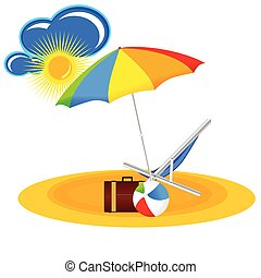 beach paradise with beach stuff cartoon vector illustration