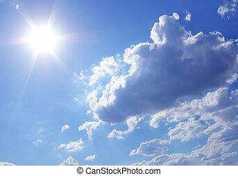 suny sky - sun in a blue cloudy sky