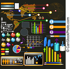 Collection of web and infographic elements, diagrams,...