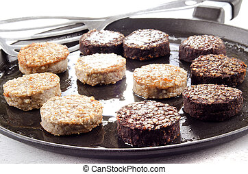 grilled white and black pudding - white and black pudding on...