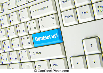 contact us - Keyboard blue key Contact us . business concept...