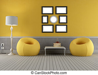 Yellow and grey old interior