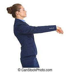 Business woman walking like zombie