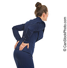 Business woman having back pain