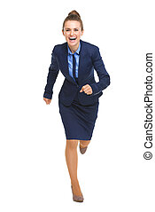 Full length portrait of happy business woman running...