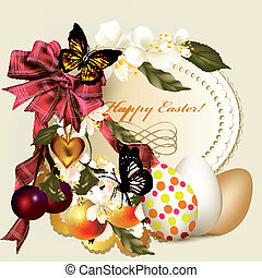 Easter greeting card with banner - Beautiful greeting card...