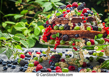 Cake wild fresh berry fruits in forest