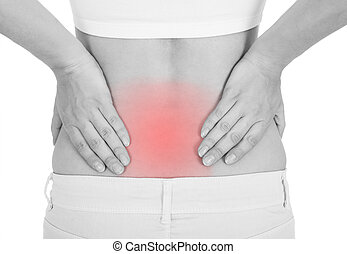Woman having back pain
