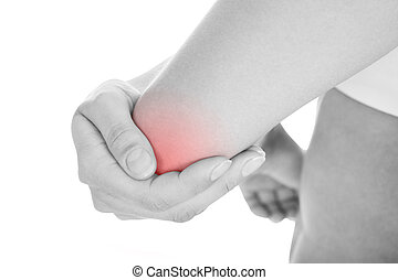 Woman with elbow pain - Close up of woman with elbow pain...
