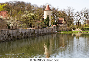 Dinkelsbuehl, City Wall with Defense Tower - Dinkelsbuehl,...