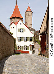 Dinkelsbuehl, Germany, City wall with old defense tower