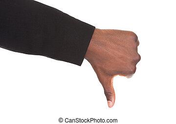 homem negócios, mão, mostrando, polegar,...