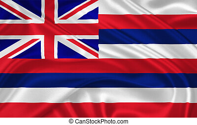 Flag of Hawaii waving with highly detailed textile texture...