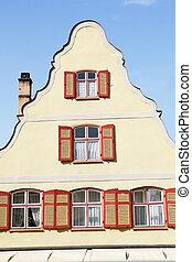 Facade of medieval houses in Dinkelsbuehl, Franconia,...
