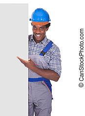 Male Craftsman With Blank Card - Craftsman Behind Placard...