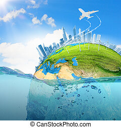 Earth planet in water - Image of earth planet floating in...