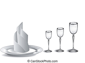 wine glasses and white plate
