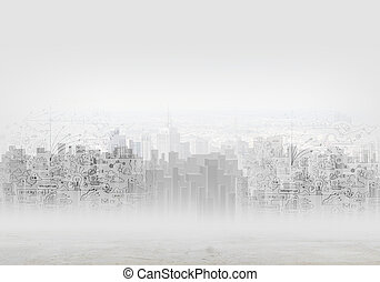 Urban scene - Background image with buildings and urban...