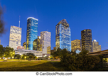 View on downtown Houston by night - View on downtown Houston...