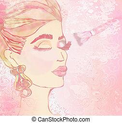 eye makeup, applying shadow on the eyelid brush