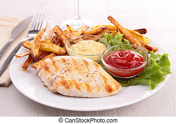 chicken breast with french fries