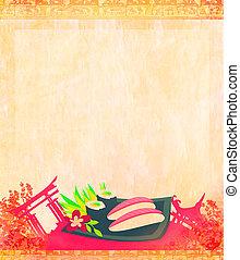 Japanese food menu - vintage paper
