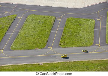 Airport - Aerial view of the Airport - Safety cars on...