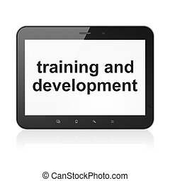 Education concept: black tablet pc computer with text Training and Development on display. Generic modern portable touch pad device on White background, 3d render