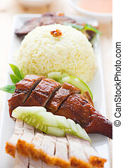 Roasted duck and roasted pork crispy siu yuk rice - Roasted...