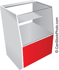 Trade counter with a glass showcase. Vector illustration.