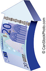 bank-note as an upward arrow - 20 euros bank-note as an...