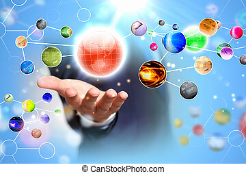 Network concept - Close up of human hand holding globe image