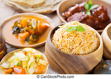 Biryani rice or briyani rice, fresh cooked basmati rice,...