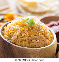 Close up Indian food biryani rice - Indian food biryani rice...